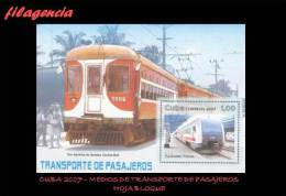 AMERICA. CUBA MINT. 2007 MEDIOS DE TRANSPORTE TERRESTRE PARA PASAJEROS. HOJA BLOQUE - Unused Stamps