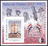 CNEP N° 61 De 2012 - Bloc Autoadhésif  ( 738A )- Salon Du Timbre à VINCENNES - Le Château - CNEP