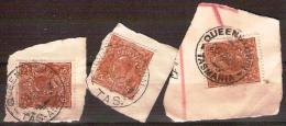 TASMANIA - Three Different  CDS Postmarks  On 5d Brown King George V - QUEENSTOWN - 1853-1912 Tasmania