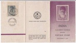 Stamped Information Folder,  1963 Dadabhoy Naoroji,  Good Student Of Mathematics, Parliamentarian..India - India