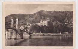 (RECTO / VERSO) TOURNON EN 1949 - PONT PASSERELLE MARC SEGUIN - TOUR DE LA VIERGE ET CHATEAU MUSEE RHODANIEN - Tournon