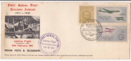 India Special 1961, First Aerial Post Golden Jubilee, Airplane, Allahabad To Naini, Henri Pequet, As Scan - FDC