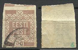 ESTLAND ESTONIA Estonie 1918/1919 Michel 3 O YELLOW-BROWN Gelblich Braun Signed - Estland