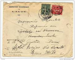 Semeuse : Lettre De 1907 Pour Paris Et Réexpédiée En Italie Avec Ajout De La Différence Tarif Intérieur/ Tarif étranger - Postmark Collection (Covers)