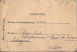 Cpp 36 LE BLANC Bureau De Recrutement Adr A Une Loge De Charbonnier En Forêt ( Bois ) De CIRON - Le Blanc