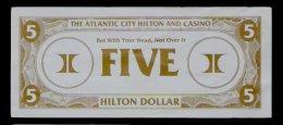 "Test Note ""HILTON"" Testnote,  5 Dollars, RRRRR, Used, Gebraucht, Sehr Alt!! Dollar Size - USA"