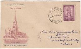 Postal Used, India 1964 FDC, St. Thomas, Apostle., Ortona Cathedral, Italy - Eglises Et Cathédrales