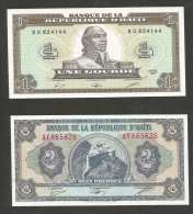 [NC] HAITI - BANQUE De La REPUBLIQUE D' HAITI - 1 & 2 GOURDES (1987) LOT Of 2 BANKNOTES - Haiti
