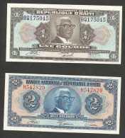 [NC] HAITI - BANQUE NATIONALE De La REPUBLIQUE D' HAITI - 1 & 2 GOURDES / LOT Of 2 BANKNOTES - Haiti