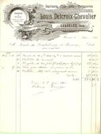Herseaux Gare 1916 Louis Delcroix Chevalier Imprimerie Typo Litho - Printing & Stationeries