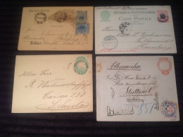 Brazil 1893-1900 4 Diff. Used Postal Stationeries Incl. A.R. (Brésil Entiers Postaux Brasilien Ganzsache) - Entiers Postaux