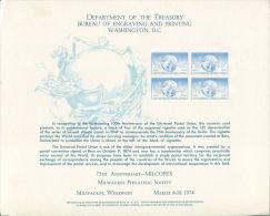 CB0165 United States 1974 UPU IP Messenger Engraver Proof MNH - Proofs, Essays & Specimens