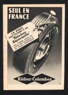 Pub Papier 1955 Automobiles PNEU KLEBER Colombes France - Pubblicitari