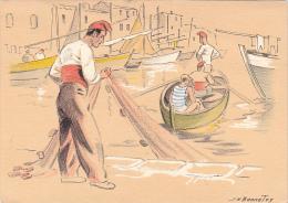 22063 J H Bonnefoy.  Croquis Regionnaux Pecheur De Martigues 1303U BD - Barque Crabe Peche Bateau - Illustrateurs & Photographes