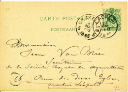 1885 Postkaart Met 1-cirkelstempels Van Laeken Naar Bruxelles 5  Zie Scan(s) - Entiers Postaux