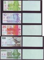 (Replica)China BOC Bank Training/test Banknote,Netherlands Holland Gulden A Series 5 Different Notes Specimen Overprint - [6] Fakes & Specimens