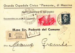 GRANITO / MESSINA 1941 - FRATELLANZA D'ARMI CENT. 75 IN COMPLEMENTO - CARTOLINA COMMERCIALE RACCOMANDATA - S1477 - Poststempel