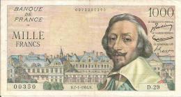 - BILLETS - 1000F RICHELIEU - N. 7 - 1 - 1954 N - N° 00350 - D . 29 - - 1 000 F 1953-1957 ''Richelieu''