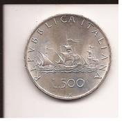CARAVELLE 500 Lire Argento 1964 FDC Repubblica Italiana Moneta Fior Di Conio - 1946-… : Republic