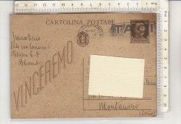PO3106C# CARTOLINA POSTALE IN FRANCHIGIA 30 Cent.  VG Alessandria-Montanaro 1943 - 1900-44 Victor Emmanuel III.