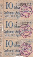 COUPONS POUR 10 LITRES CARBURANT AUTO / JUIL. 1948 - Old Paper