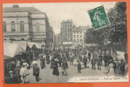 Y247, Saint-Etienne, Place Du Théâtre Granger, Animée, 4, Circulée 1909 - Saint Etienne