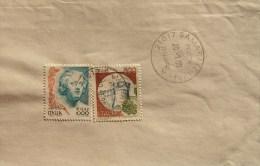 2000 Castello £ 500 Donne Nell´arte 1000 Lire 0,52 Euro Castelli D´Italia Busta Lettera Usato - 1991-00: Marcophilia