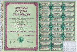 Cie Générale De L'Est Africain à Djibouti, 1/10 De Part De Fondateur - Afrique