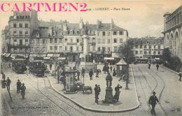 4 CPA : LORIENT PLACE ALSACE-LORRAINE ANIMEE PORT DU COMMERCE PORT DE GUERRE NAVIRE PLACE BISSON TRAMWAY 56 - Lorient