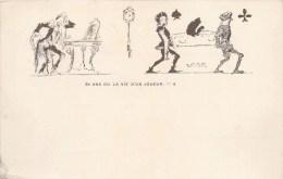 """ILLUSTRATEUR T. WILETTE """" 30 ANS OU LA VIE D'UN JOUEUR """" VALET DE PIQUE ET TREFLE PIERROT JEU HUMOUR CARTE A JOUER 1900 - Non Classés"""