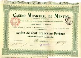Actions-  Casino Municipal De Menton - Lot De 15 Actions De 100 Frs   De1912 ( Lot 1)   Bon état - Casino
