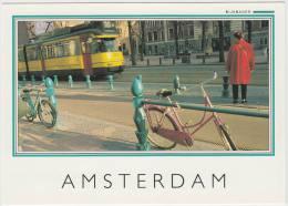 Amsterdam - Lijn 16 - TRAM/STRAßENBAHN/TRAMWAY, 2x FIETS/BICYCLE - Holland/Nederland - Amsterdam