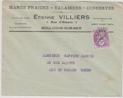 """Enveloppe Avec RS - """"Etienne Villiers - Boulogne Sur Mer   -193* - Marcofilie (Brieven)"""