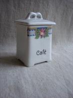 Pot Carré, Café, Déco Façade Bande Losange Et Rose Avec Couvercle.V. Photos. - Unclassified