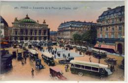 PARIS - Ensemble De La Place De L´Opera - Animation, Autobus Mercedes, Automobile ..... - Transport Urbain En Surface