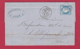Facture De Lyon //  Pour Villefranche Sur Saone //  3 Aout 1875  //  établissement Ditty Et Collet // Tannerie - Marcophilie (Lettres)