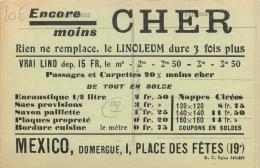 PARIS PUBLICITE COMMERCE MEXICO DOMERGUE I PLACE DES FETES XIX VOIR LES DEUX SCANS - Arrondissement: 19