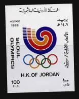 Jordanie Jordan 1989 Bloc 47A** MNH Cote 15 Euro JEUX OLYMPIQUES OLYMPIC SEOUL - Giordania