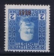 Österreichisch- Bosnien Und Herzegowina Mi 148 K MH/* , Kopfstehende Aufdruck - 1850-1918 Imperium