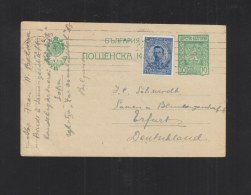 Bulgaria Stationery 1920 Sophia To Erfurt Germany - 1909-45 Königreich