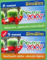 Azerbaijan GSM Prepaid - Azercell SIMSIM 2 5 Manat /like UNC / Novruz 2007