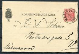 1890 Denmark 8 Ore Stationery Korrespondence Kort Lettercard MARIAGER - Copenhagen - Interi Postali