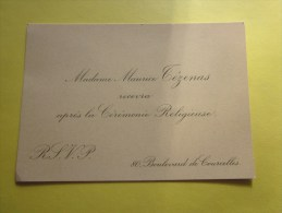 Faire Part Carte De Visite Mme Maurice Tézenas Recevra Après La Cérémonie Religieuse--bd De Courcelles Paris Année 20 - Engagement