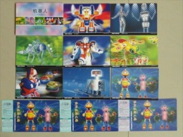 China Postal Stationery,stamped Postcard,robot,11 Pcs Per Set,can Use As Ticket - Cartoline Postali