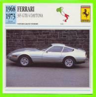 FERRARI 1968 - 365 GTB/4 DAYTONA - FICHE COMPLÈTE DE LA VOITURE À L´ENDOS DE LA CARTE - - Voitures