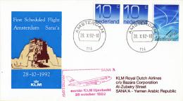 Nederland - 1ste Vlucht - 28 Oktober 1992 - Amsterdam-Sana'a - Vl. Hol. 1153a - Postal History