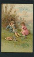 PAQUES - Jolie Carte Fantaisie Gaufrée Enfants Assis Dans L'herbe Et Lapins  (embossed Postcard) - Easter