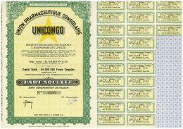 UNICONGO, Union Pharmaceutique Congolaise, Titre Belge Apres 44 à Elisabethville - Afrique