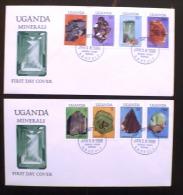 OUGANDA Mineraux (Yvert 486/89+490/93) Sur 2 Enveloppes Premier Jour. FDC - Minerals