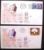 USA, ETATS UNIS,  EINSTEIN  2 Obliterations Temporaires Du 18 Juin 1976, A CAP CANAVERAL, WALLOPS ISLAND - Albert Einstein